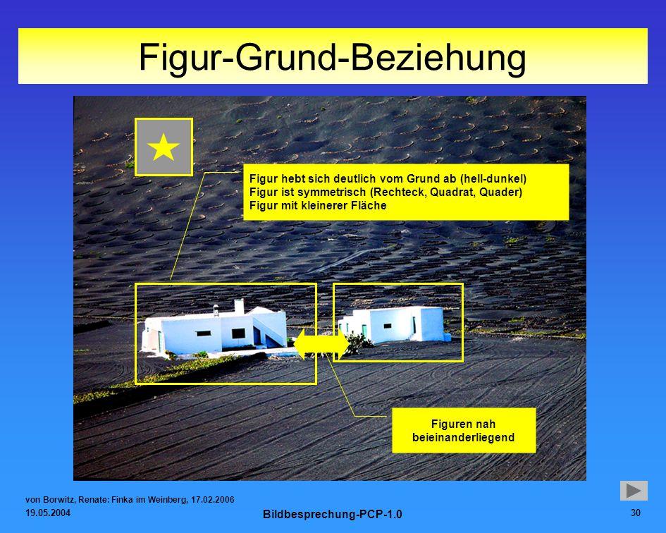 19.05.2004 Bildbesprechung-PCP-1.0 30 Figur-Grund-Beziehung von Borwitz, Renate: Finka im Weinberg, 17.02.2006 Figur hebt sich deutlich vom Grund ab (