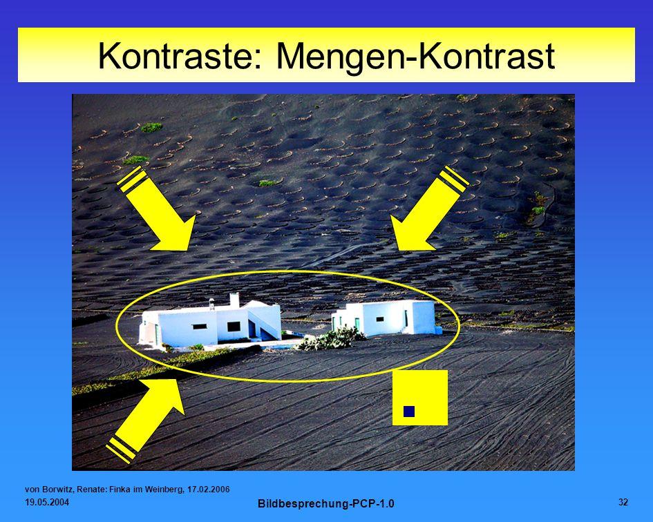 19.05.2004 Bildbesprechung-PCP-1.0 32 Kontraste: Mengen-Kontrast von Borwitz, Renate: Finka im Weinberg, 17.02.2006