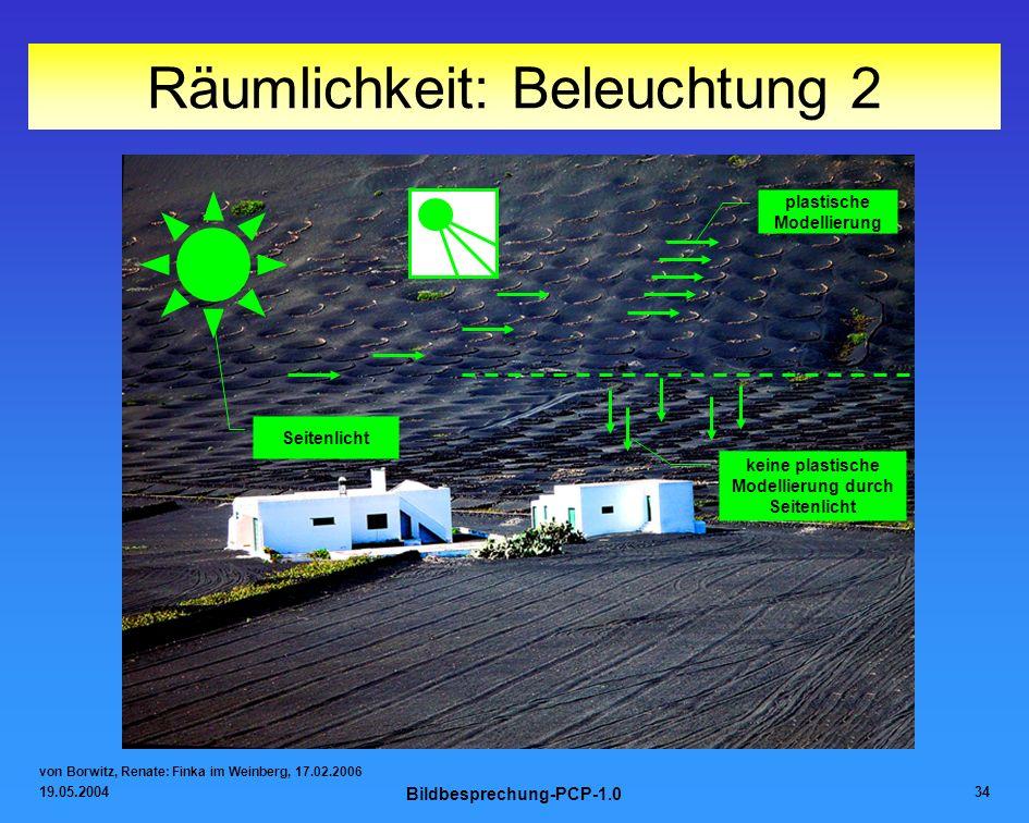 19.05.2004 Bildbesprechung-PCP-1.0 34 Räumlichkeit: Beleuchtung 2 von Borwitz, Renate: Finka im Weinberg, 17.02.2006 Seitenlicht plastische Modellieru