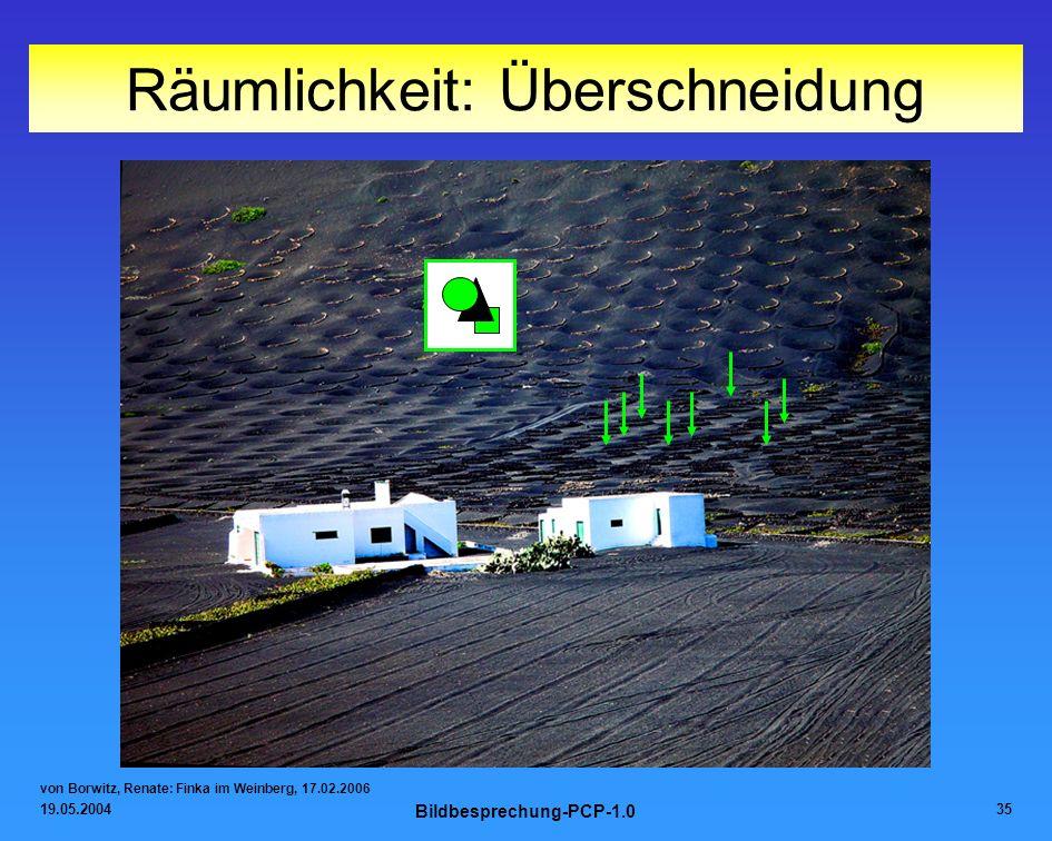 19.05.2004 Bildbesprechung-PCP-1.0 35 Räumlichkeit: Überschneidung von Borwitz, Renate: Finka im Weinberg, 17.02.2006
