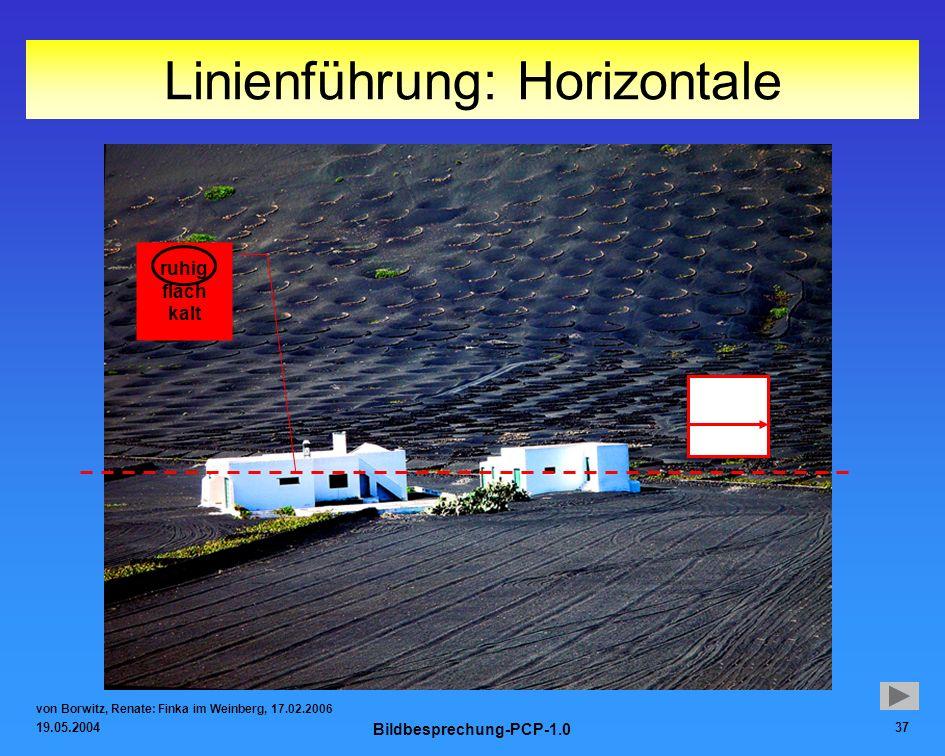 19.05.2004 Bildbesprechung-PCP-1.0 37 Linienführung: Horizontale von Borwitz, Renate: Finka im Weinberg, 17.02.2006 ruhig flach kalt