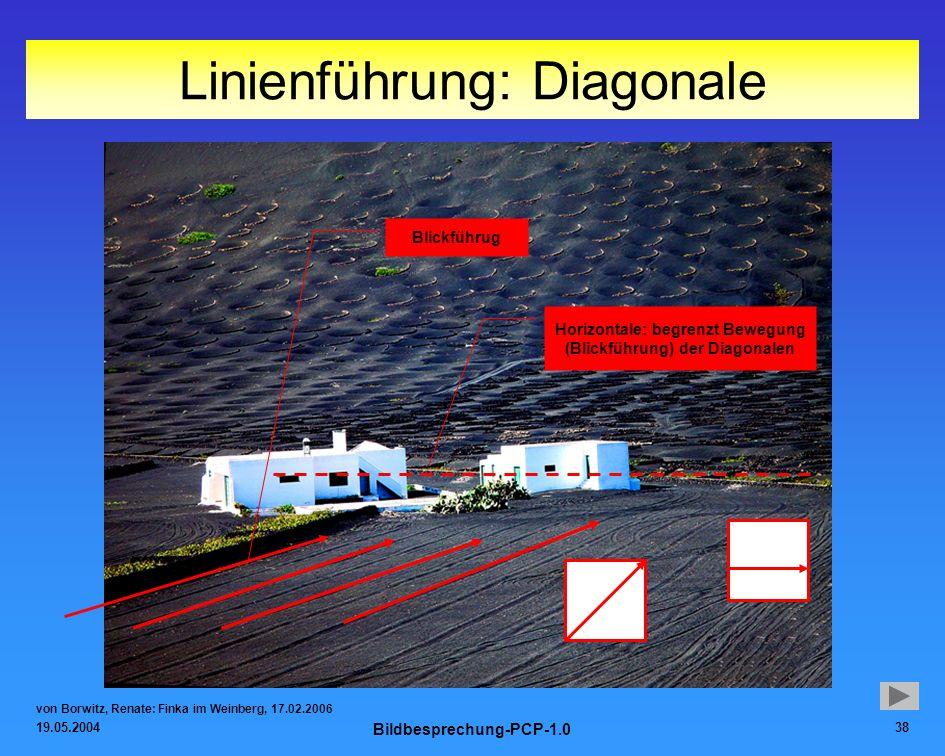 19.05.2004 Bildbesprechung-PCP-1.0 38 Linienführung: Diagonale von Borwitz, Renate: Finka im Weinberg, 17.02.2006 Blickführug Horizontale: begrenzt Be