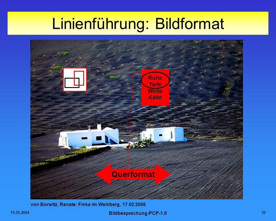 19.05.2004 Bildbesprechung-PCP-1.0 39 Linienführung: Bildformat von Borwitz, Renate: Finka im Weinberg, 17.02.2006 Querformat Ruhe Tiefe Weite Kälte
