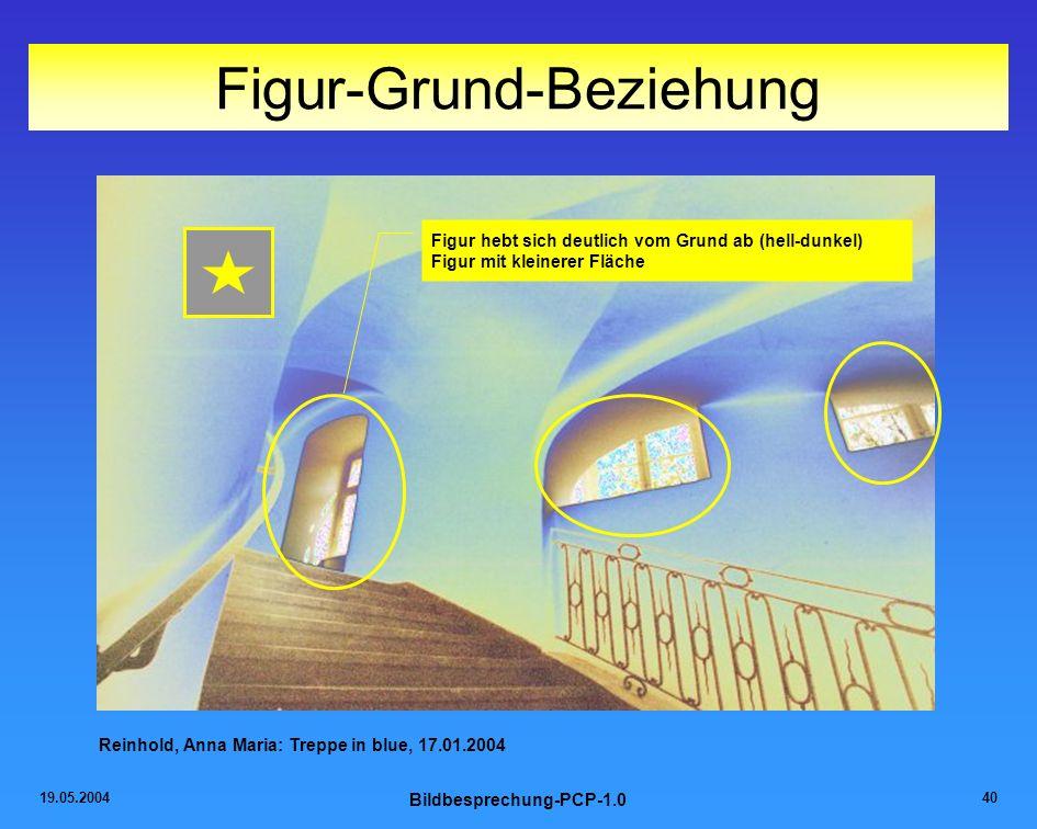 19.05.2004 Bildbesprechung-PCP-1.0 40 Figur-Grund-Beziehung Figur hebt sich deutlich vom Grund ab (hell-dunkel) Figur mit kleinerer Fläche Reinhold, A