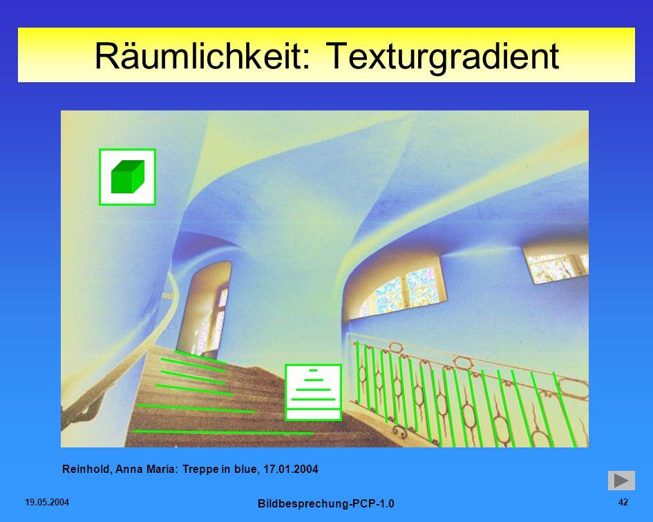 19.05.2004 Bildbesprechung-PCP-1.0 42 Räumlichkeit: Texturgradient Reinhold, Anna Maria: Treppe in blue, 17.01.2004