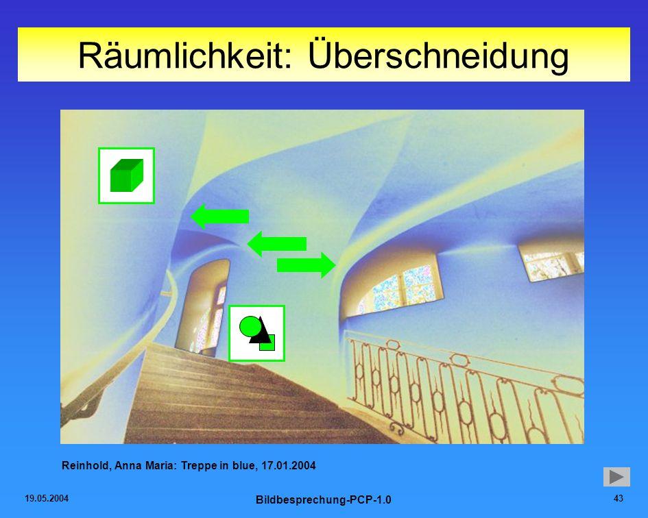 19.05.2004 Bildbesprechung-PCP-1.0 43 Räumlichkeit: Überschneidung Reinhold, Anna Maria: Treppe in blue, 17.01.2004