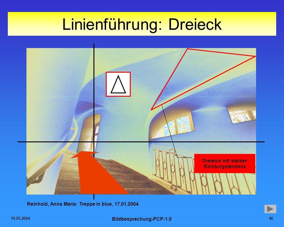 19.05.2004 Bildbesprechung-PCP-1.0 46 Linienführung: Dreieck Reinhold, Anna Maria: Treppe in blue, 17.01.2004 Dreieick mit starker Richtungstendenz