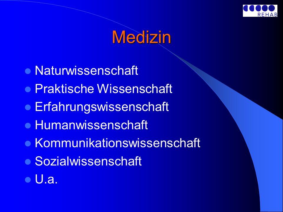 Medizin Naturwissenschaft Praktische Wissenschaft Erfahrungswissenschaft Humanwissenschaft Kommunikationswissenschaft Sozialwissenschaft U.a.