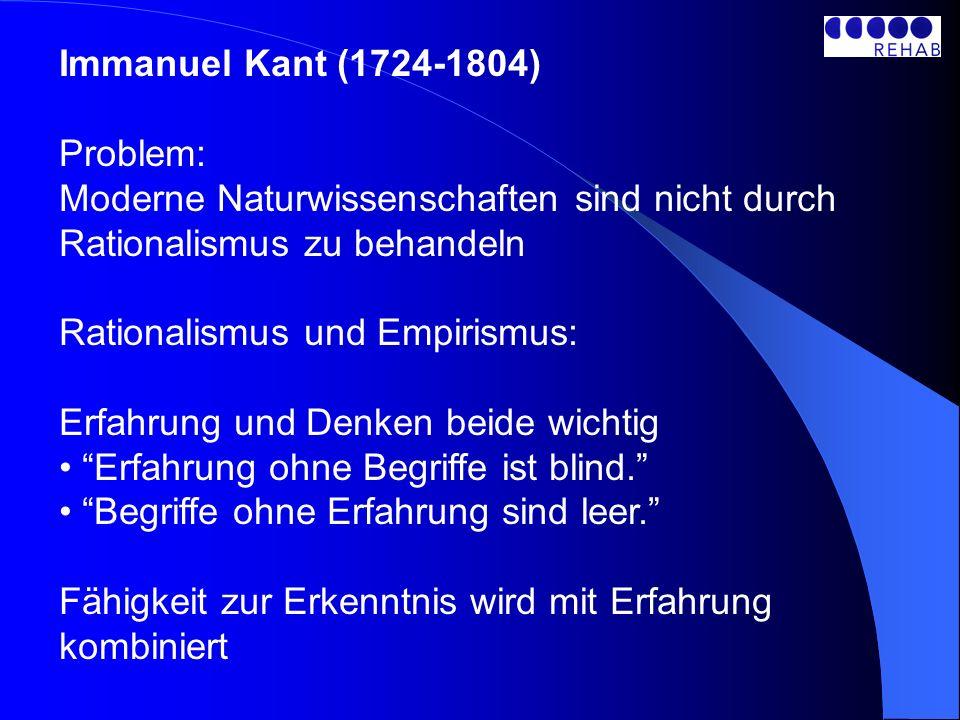 Immanuel Kant (1724-1804) Problem: Moderne Naturwissenschaften sind nicht durch Rationalismus zu behandeln Rationalismus und Empirismus: Erfahrung und Denken beide wichtig Erfahrung ohne Begriffe ist blind.