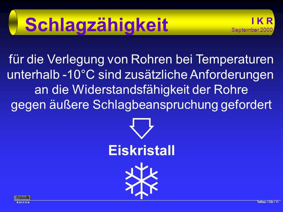 A u s t r i a Tiefbau / CBr / 11 I K R September 2000 Schlagzähigkeit für die Verlegung von Rohren bei Temperaturen unterhalb -10°C sind zusätzliche A