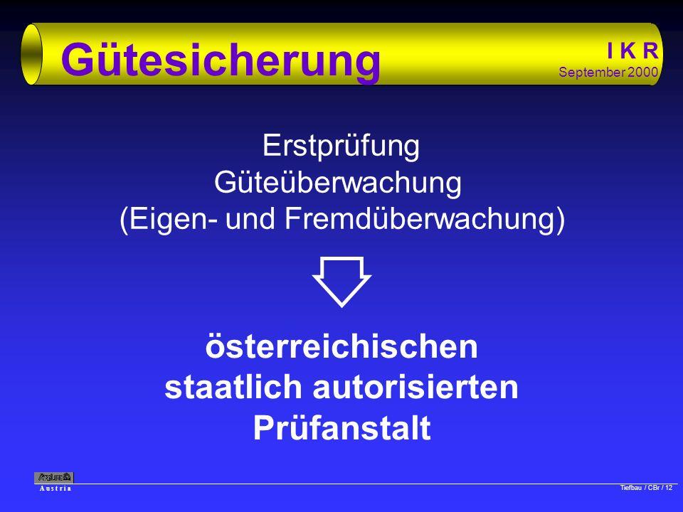 A u s t r i a Tiefbau / CBr / 12 I K R September 2000 Gütesicherung Erstprüfung Güteüberwachung (Eigen- und Fremdüberwachung) österreichischen staatli