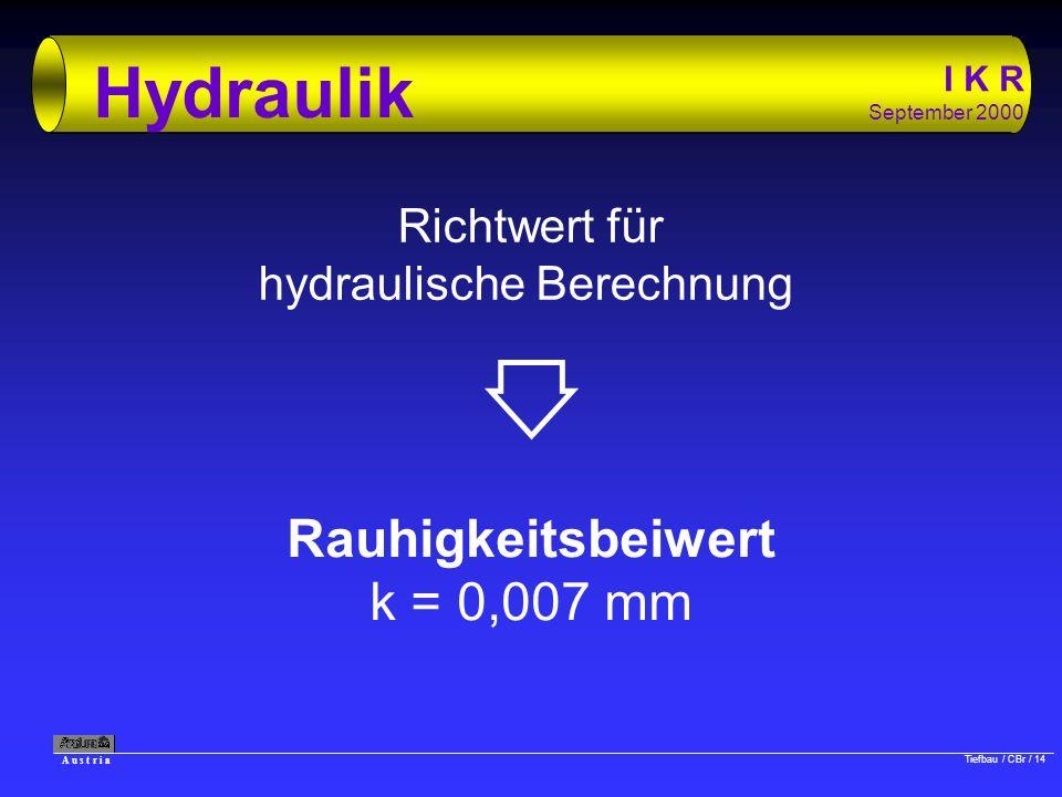 A u s t r i a Tiefbau / CBr / 14 I K R September 2000 Hydraulik Richtwert für hydraulische Berechnung Rauhigkeitsbeiwert k = 0,007 mm