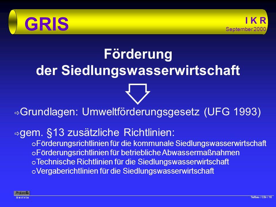 A u s t r i a Tiefbau / CBr / 18 I K R September 2000 GRIS Förderung der Siedlungswasserwirtschaft ð Grundlagen: Umweltförderungsgesetz (UFG 1993) ð g