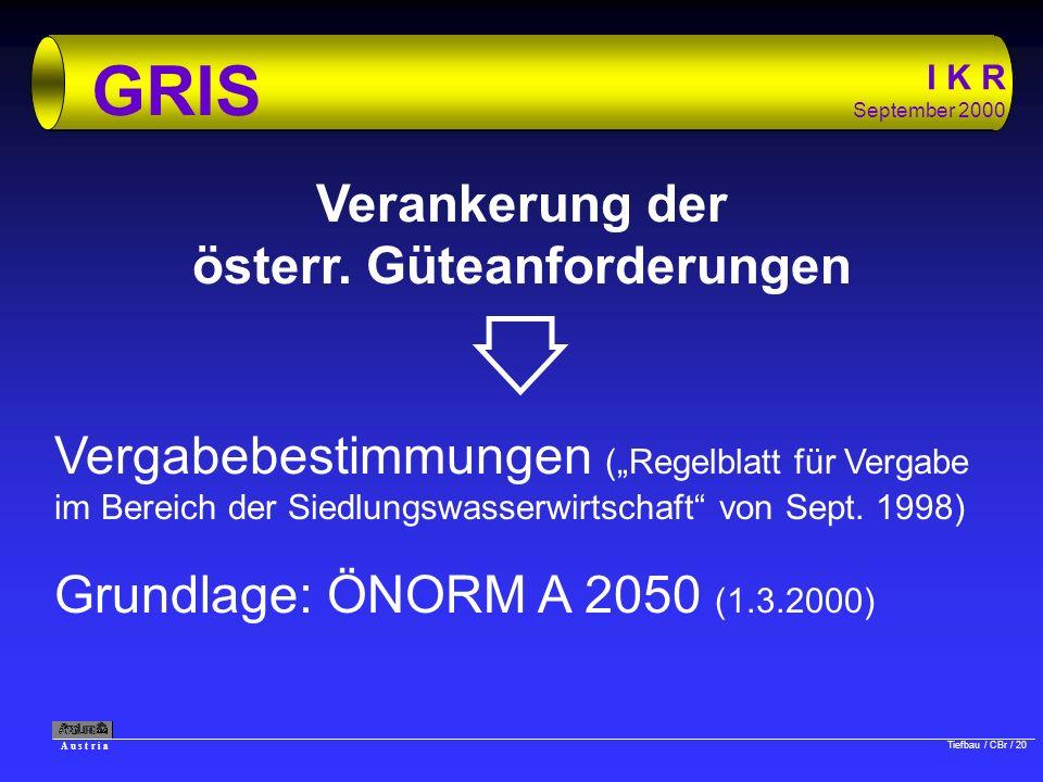 A u s t r i a Tiefbau / CBr / 20 I K R September 2000 GRIS Verankerung der österr. Güteanforderungen Vergabebestimmungen (Regelblatt für Vergabe im Be