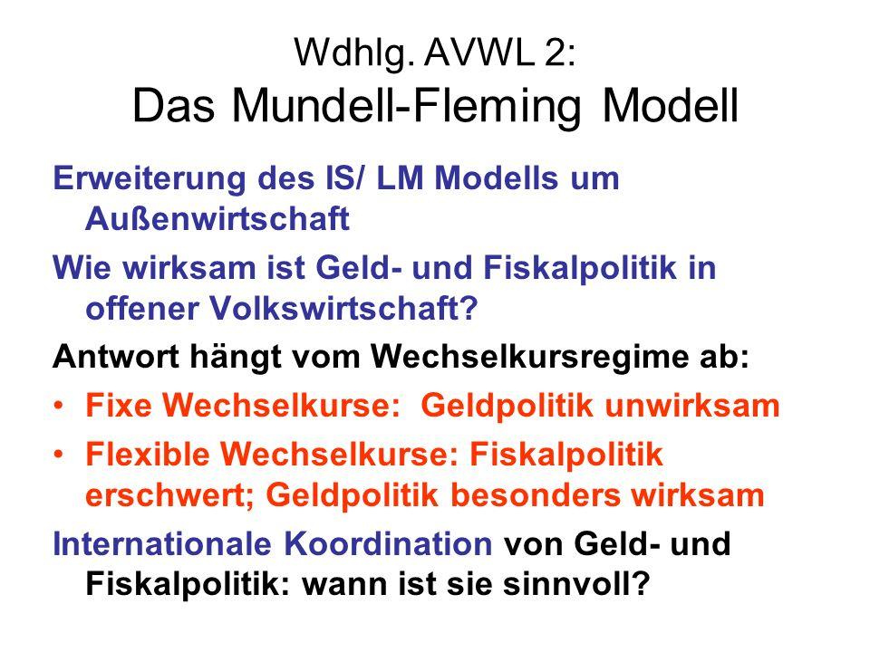 Wdhlg. AVWL 2: Das Mundell-Fleming Modell Erweiterung des IS/ LM Modells um Außenwirtschaft Wie wirksam ist Geld- und Fiskalpolitik in offener Volkswi