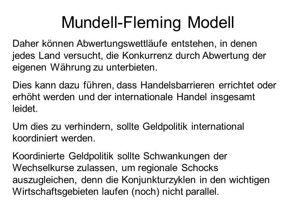 Mundell-Fleming Modell Daher können Abwertungswettläufe entstehen, in denen jedes Land versucht, die Konkurrenz durch Abwertung der eigenen Währung zu