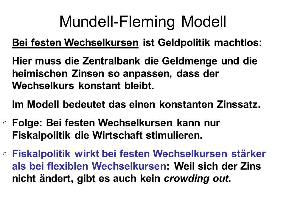 Mundell-Fleming Modell Bei festen Wechselkursen ist Geldpolitik machtlos: Hier muss die Zentralbank die Geldmenge und die heimischen Zinsen so anpasse