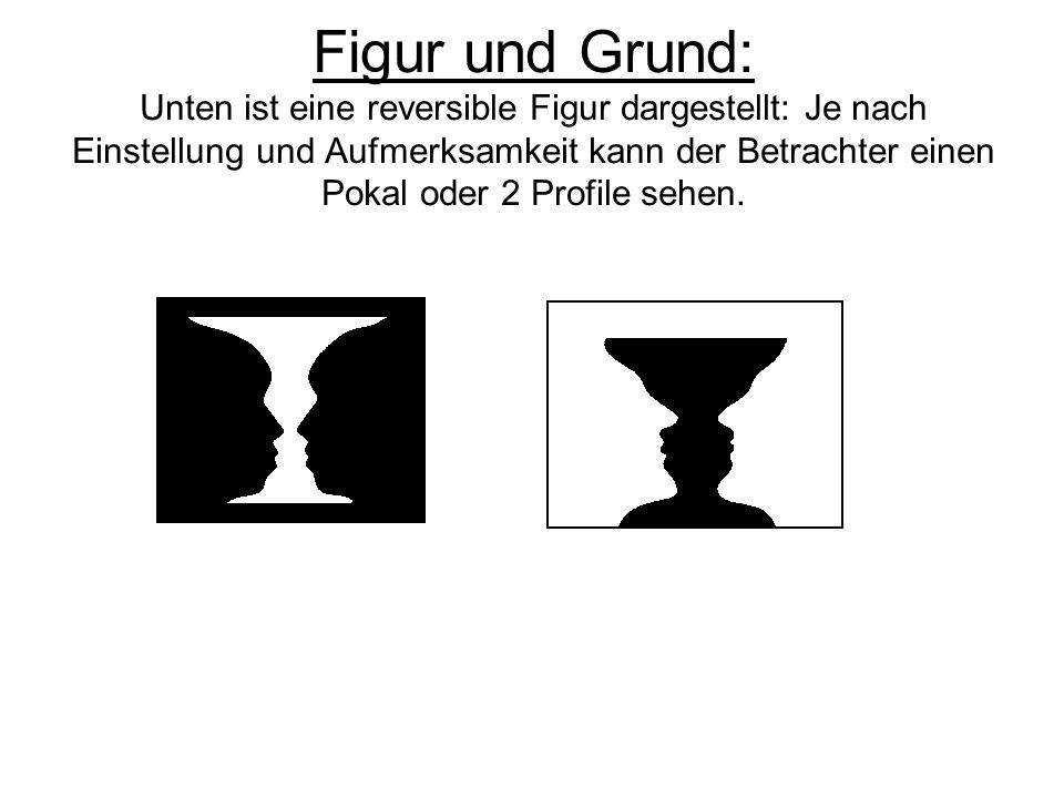Figur und Grund: Unten ist eine reversible Figur dargestellt: Je nach Einstellung und Aufmerksamkeit kann der Betrachter einen Pokal oder 2 Profile se