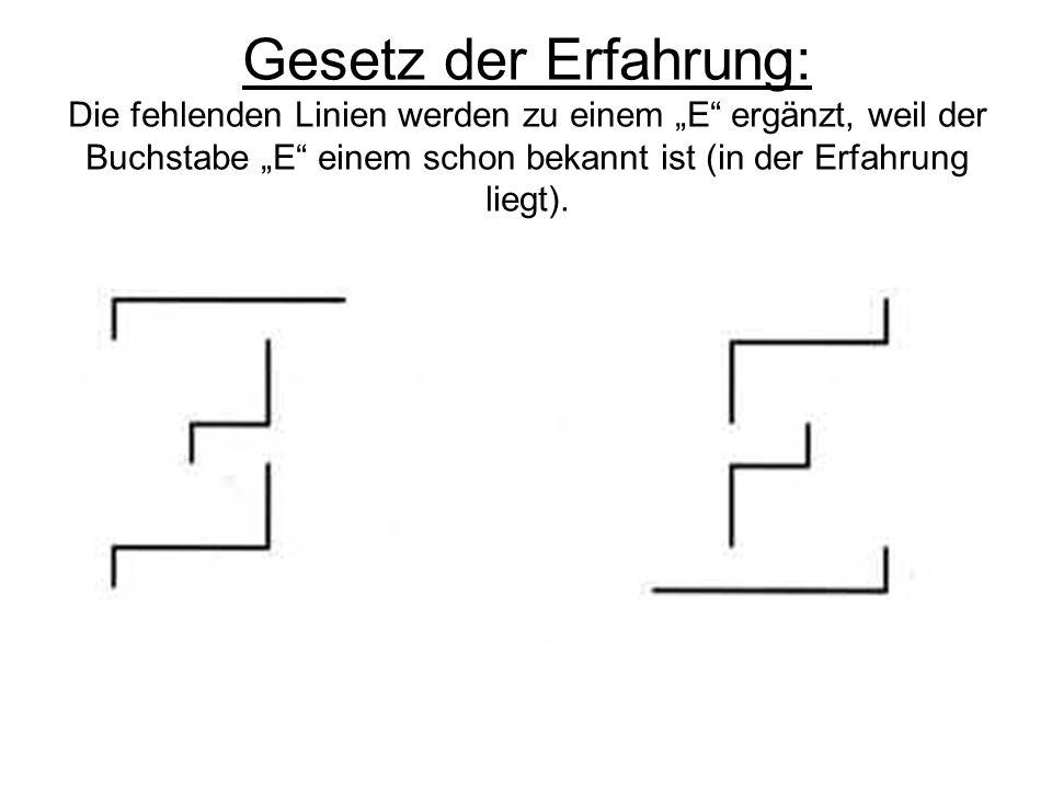 Gesetz der Erfahrung: Die fehlenden Linien werden zu einem E ergänzt, weil der Buchstabe E einem schon bekannt ist (in der Erfahrung liegt).