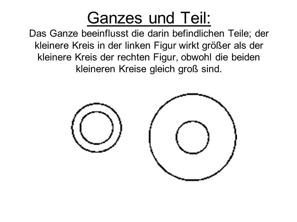 Ganzes und Teil: Das Ganze beeinflusst die darin befindlichen Teile; der kleinere Kreis in der linken Figur wirkt größer als der kleinere Kreis der rechten Figur, obwohl die beiden kleineren Kreise gleich groß sind.
