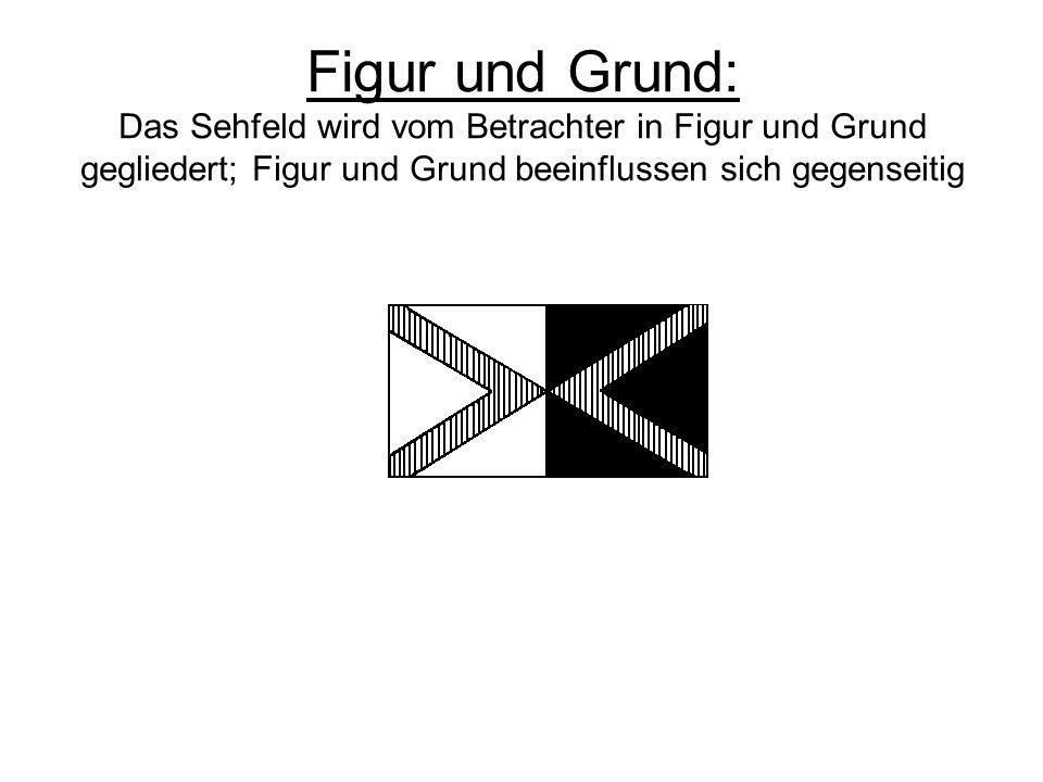 Figur und Grund: Das Sehfeld wird vom Betrachter in Figur und Grund gegliedert; Figur und Grund beeinflussen sich gegenseitig