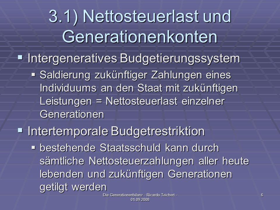 3.1) Nettosteuerlast und Generationenkonten Intergeneratives Budgetierungssystem Intergeneratives Budgetierungssystem Saldierung zukünftiger Zahlungen eines Individuums an den Staat mit zukünftigen Leistungen = Nettosteuerlast einzelner Generationen Saldierung zukünftiger Zahlungen eines Individuums an den Staat mit zukünftigen Leistungen = Nettosteuerlast einzelner Generationen Intertemporale Budgetrestriktion Intertemporale Budgetrestriktion bestehende Staatsschuld kann durch sämtliche Nettosteuerzahlungen aller heute lebenden und zukünftigen Generationen getilgt werden bestehende Staatsschuld kann durch sämtliche Nettosteuerzahlungen aller heute lebenden und zukünftigen Generationen getilgt werden 6Die Generationenbilanz - Ricardo Teichert - 01.09.2008