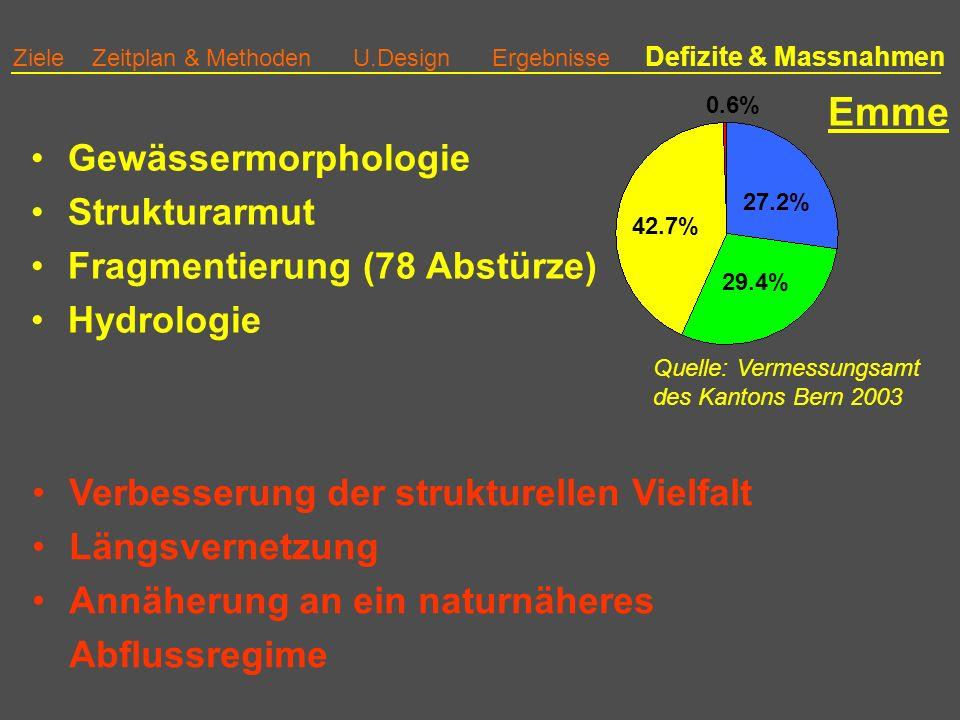 42.7% 29.4% 27.2% 0.6% Ziele Zeitplan & Methoden U.Design Ergebnisse Defizite & Massnahmen Emme Verbesserung der strukturellen Vielfalt Längsvernetzung Annäherung an ein naturnäheres Abflussregime Gewässermorphologie Strukturarmut Fragmentierung (78 Abstürze) Hydrologie Quelle: Vermessungsamt des Kantons Bern 2003