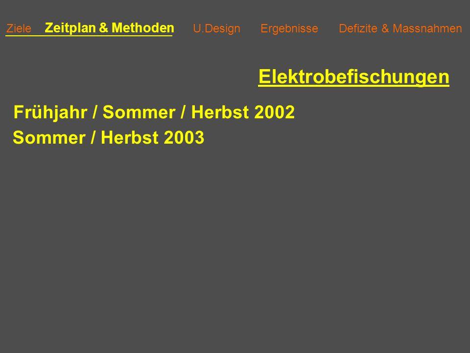 Ziele Zeitplan & Methoden U.Design Ergebnisse Defizite & Massnahmen Elektrobefischungen Frühjahr / Sommer / Herbst 2002 Sommer / Herbst 2003