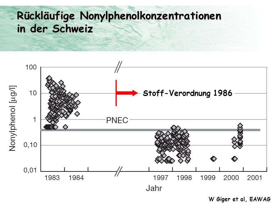 Rückläufige Nonylphenolkonzentrationen in der Schweiz W Giger et al, EAWAG Stoff-Verordnung 1986