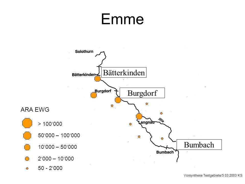 Emme Burgdorf Bumbach Bätterkinden 50000 – 100000 10000 – 50000 2000 – 10000 > 100000 50 - 2000 ARA EWG Vorsynthese Testgebiete/5.03.2003 KS