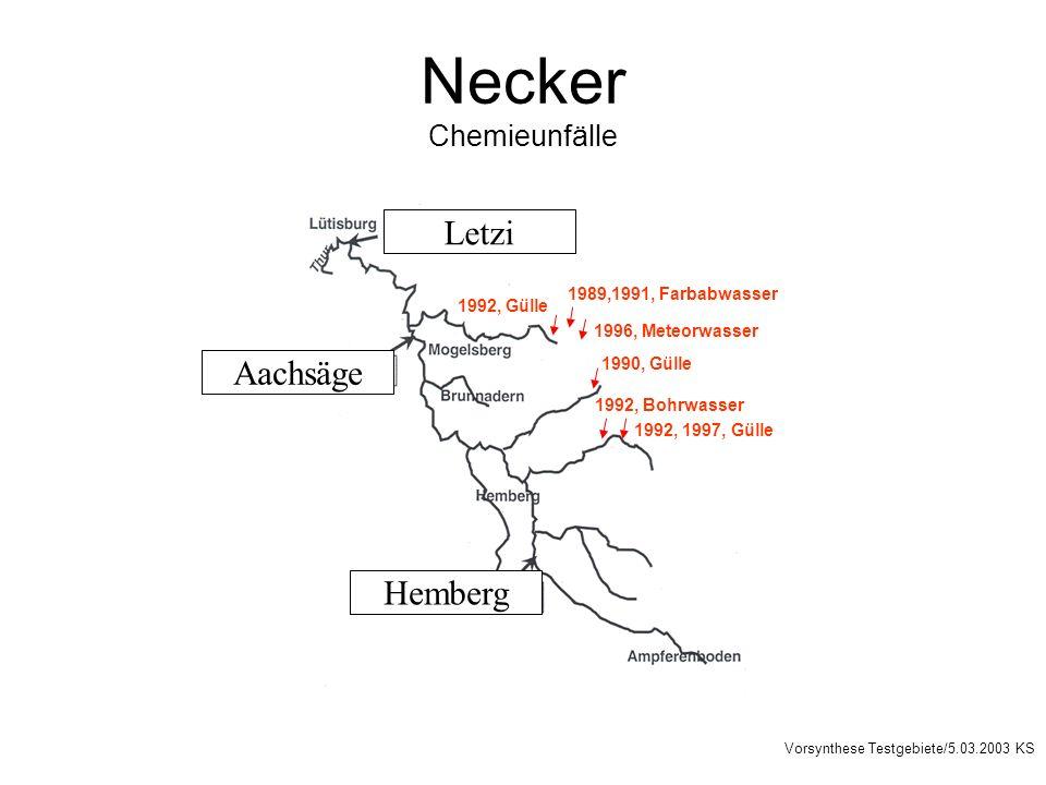 Necker Chemieunfälle Letzi Aachsäge Hemberg Vorsynthese Testgebiete/5.03.2003 KS 1992, Bohrwasser 1992, 1997, Gülle 1989,1991, Farbabwasser 1992, Gülle 1990, Gülle 1996, Meteorwasser