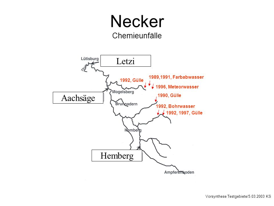 Necker Chemieunfälle Letzi Aachsäge Hemberg Vorsynthese Testgebiete/5.03.2003 KS 1992, Bohrwasser 1992, 1997, Gülle 1989,1991, Farbabwasser 1992, Güll