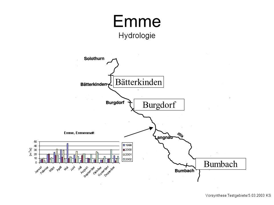 Emme Hydrologie Burgdorf Bumbach Bätterkinden Vorsynthese Testgebiete/5.03.2003 KS
