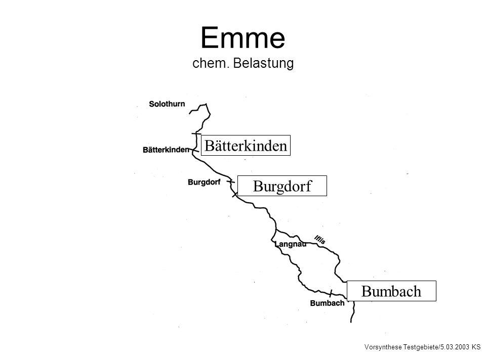 Emme chem. Belastung Burgdorf Bumbach Bätterkinden Vorsynthese Testgebiete/5.03.2003 KS