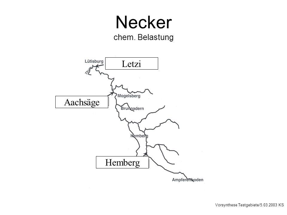 Necker chem. Belastung Letzi Aachsäge Hemberg Vorsynthese Testgebiete/5.03.2003 KS