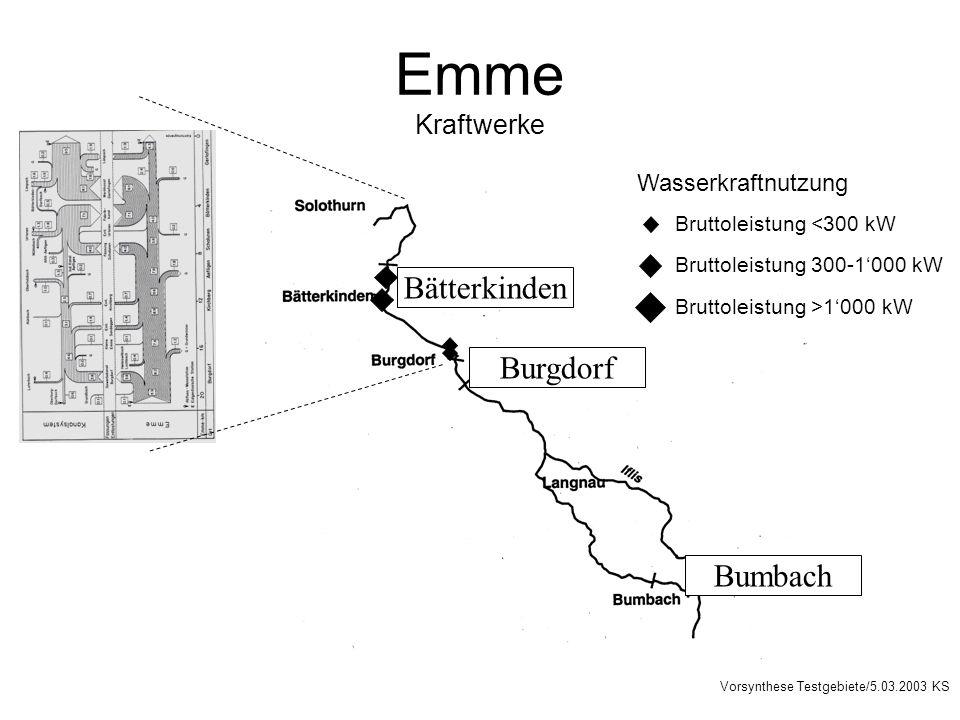 Emme Kraftwerke Burgdorf Bumbach Bätterkinden Wasserkraftnutzung Bruttoleistung <300 kW Bruttoleistung 300-1000 kW Bruttoleistung >1000 kW Vorsynthese Testgebiete/5.03.2003 KS