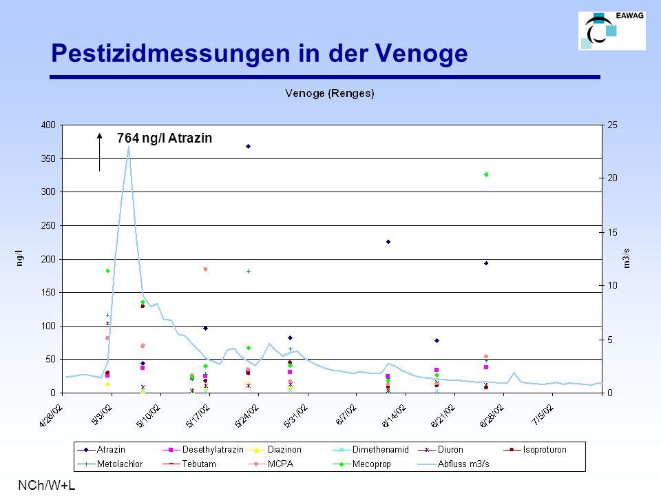 Pestizidmessungen in der Venoge 764 ng/l Atrazin NCh/W+L