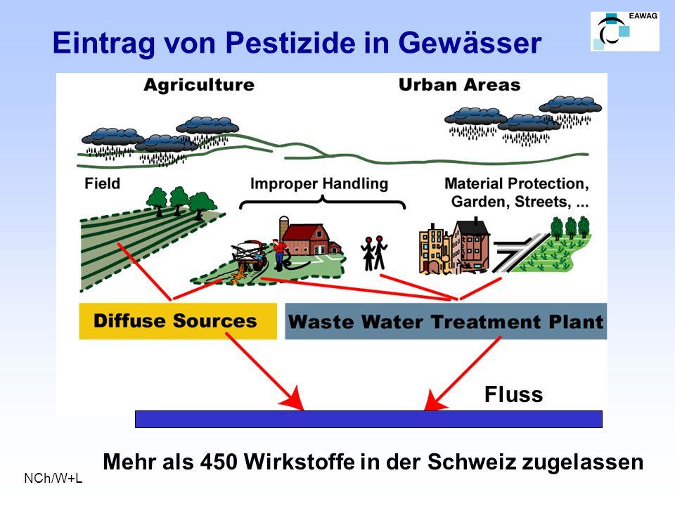 Eintrag von Pestizide in Gewässer NCh/W+L Fluss Mehr als 450 Wirkstoffe in der Schweiz zugelassen