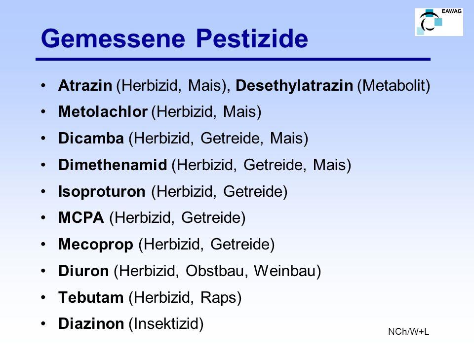 Gemessene Pestizide Atrazin (Herbizid, Mais), Desethylatrazin (Metabolit) Metolachlor (Herbizid, Mais) Dicamba (Herbizid, Getreide, Mais) Dimethenamid