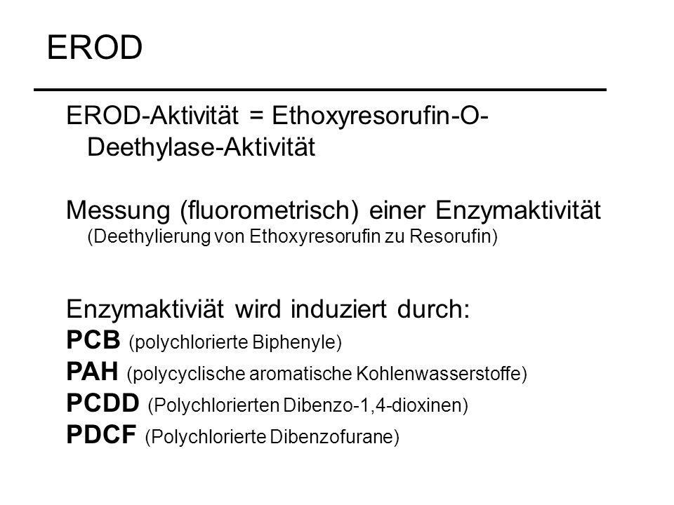 EROD-Aktivität = Ethoxyresorufin-O- Deethylase-Aktivität Messung (fluorometrisch) einer Enzymaktivität (Deethylierung von Ethoxyresorufin zu Resorufin) Enzymaktiviät wird induziert durch: PCB (polychlorierte Biphenyle) PAH (polycyclische aromatische Kohlenwasserstoffe) PCDD (Polychlorierten Dibenzo-1,4-dioxinen) PDCF (Polychlorierte Dibenzofurane) EROD