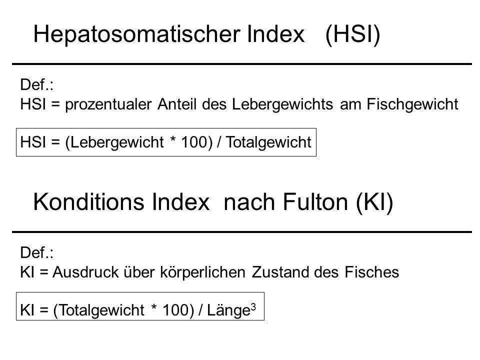 Hepatosomatischer Index (HSI) Def.: HSI = prozentualer Anteil des Lebergewichts am Fischgewicht HSI = (Lebergewicht * 100) / Totalgewicht Konditions Index nach Fulton (KI) Def.: KI = Ausdruck über körperlichen Zustand des Fisches KI = (Totalgewicht * 100) / Länge 3