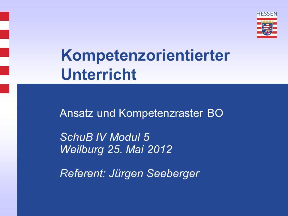 Kompetenzorientierter Unterricht Ansatz und Kompetenzraster BO SchuB IV Modul 5 Weilburg 25.