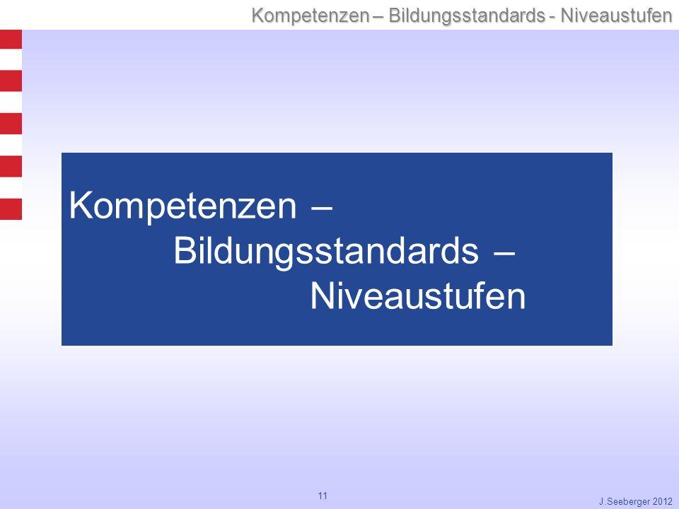 11 Kompetenzen – Bildungsstandards - Niveaustufen J.Seeberger 2012 Kompetenzen – Bildungsstandards – Niveaustufen