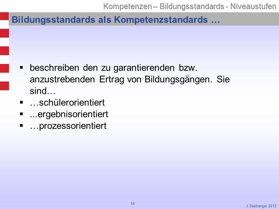 14 Kompetenzen – Bildungsstandards - Niveaustufen J.Seeberger 2012 Bildungsstandards als Kompetenzstandards … beschreiben den zu garantierenden bzw.