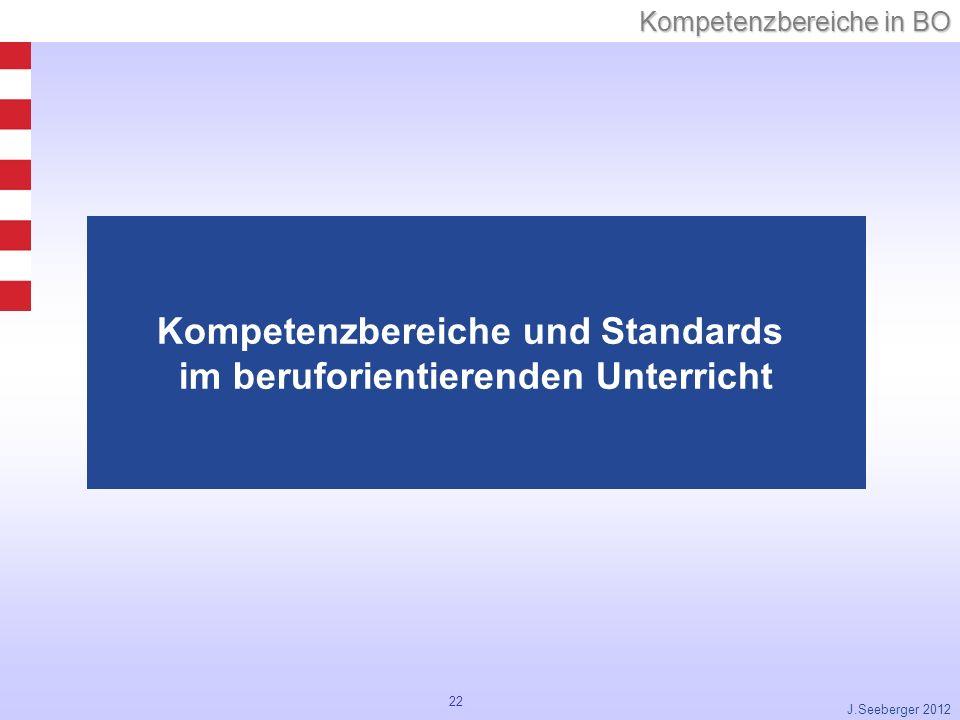 22 Kompetenzbereiche in BO J.Seeberger 2012 Kompetenzbereiche und Standards im beruforientierenden Unterricht