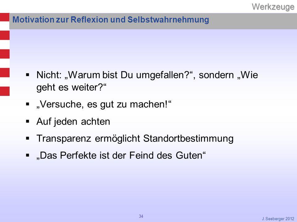 34Werkzeuge J.Seeberger 2012 Motivation zur Reflexion und Selbstwahrnehmung Nicht: Warum bist Du umgefallen?, sondern Wie geht es weiter.