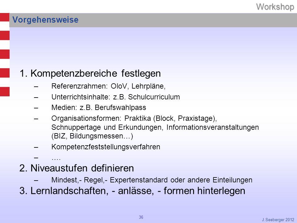 36Workshop J.Seeberger 2012 Vorgehensweise 1.Kompetenzbereiche festlegen –Referenzrahmen: OloV, Lehrpläne, –Unterrichtsinhalte: z.B.