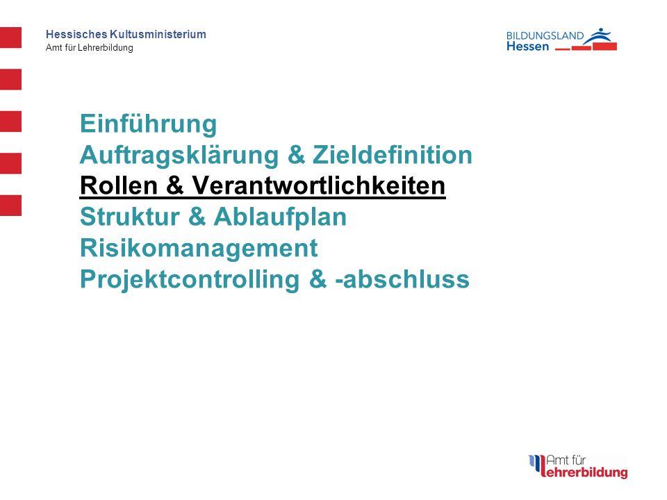 Hessisches Kultusministerium Amt für Lehrerbildung Einführung Auftragsklärung & Zieldefinition Rollen & Verantwortlichkeiten Struktur & Ablaufplan Risikomanagement Projektcontrolling & -abschluss