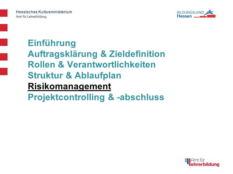 Hessisches Kultusministerium Amt für Lehrerbildung Einführung Auftragsklärung & Zieldefinition Rollen & Verantwortlichkeiten Struktur & Ablaufplan Ris
