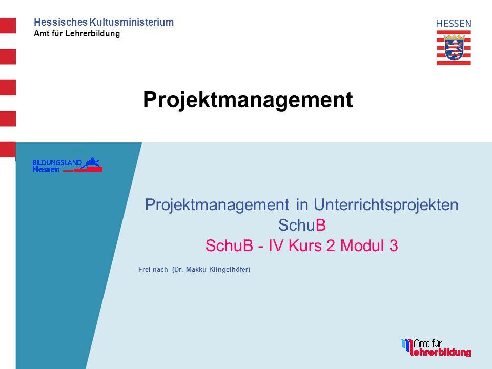 Hessisches Kultusministerium Amt für Lehrerbildung Projektmanagement Projektmanagement in Unterrichtsprojekten SchuB SchuB - IV Kurs 2 Modul 3 Frei na